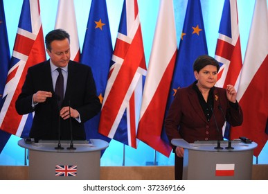 WARSAW, POLAND - FEBRUARY 5, 2016 : British Prime Minister David Cameron during meeting with Prime Minister of Poland Beata Szydlo