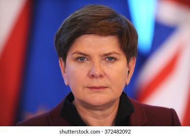 WARSAW, POLAND - FEBRUARY 5, 2016 : Prime Minister of Poland Beata Szydlo during meeting with British Prime Minister David Cameron