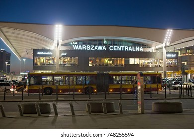 WARSAW, POLAND - JANUARY 01, 2016: Night view of the Warszawa Centralna railway station. Its construction began in 1972 and was completed in 1975. Is the primary railway station in Warsaw.