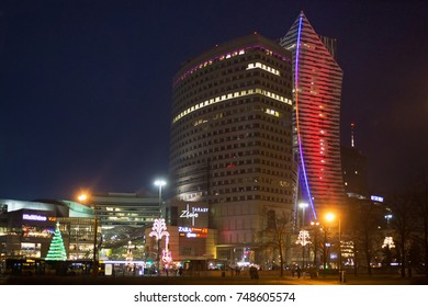 WARSAW, POLAND - JANUARY 01, 2016: Night view of the scyscrapers in city center of Warsaw - office building Golden Terraces and residential deconstructivism scyscraper Zlota 44 (192 meters high).