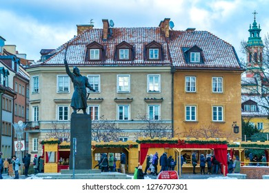 Warsaw, Poland - January 06, 2019: Statue of Jan Kilinski, a Warsaw shoemaker, a colonel in the insurgent army and one of the leaders of the 1794 Kosciuszko Insurrection.