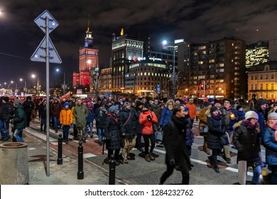 WARSAW, POLAND - JANUARY 14, 2019: Several thousand people march throught the center of Warsaw, commemoration of Pawel Adamowicz, Mayor of Gdansk, who was stabbed on stage on Sunday in Gdansk.
