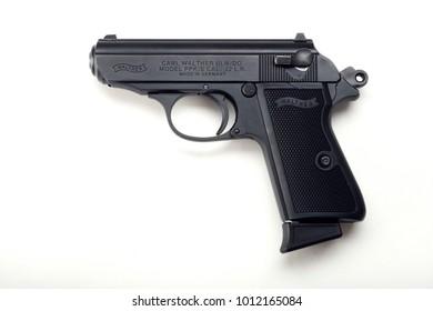 Warsaw, Poland - January 29, 2018: Close up on Walther PPK handgun.