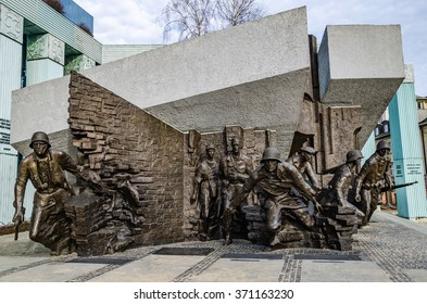 WARSAW, POLAND - JANUARY 30, 2016: Warsaw Uprising Monument. Monument is dedicated the Polish fighters in Warsaw uprising of 1944. Created by Wincenty Kucma and Jacek Budyn.