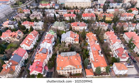 WARSAW, POLAND - JANUARY 5, 2018. Aerial drone view from above of city district with old residential houses
