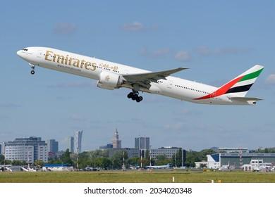Warsaw, Poland - Jul 6, 2017 - Emirates, Boeing 777-31H(ER), A6-EPC