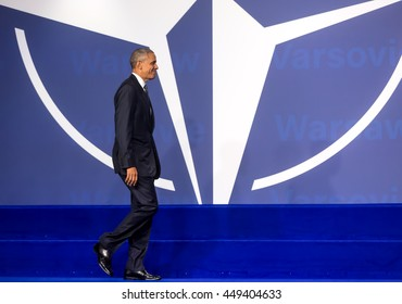 WARSAW, POLAND - Jul 8, 2016: NATO summit. US President Barack Obama at the NATO summit in Warsaw