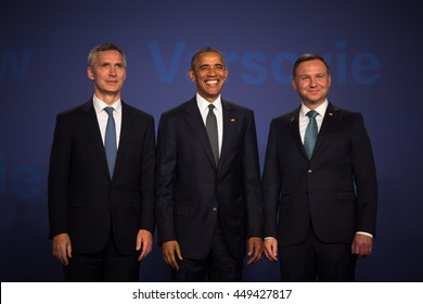 WARSAW, POLAND - Jul 8, 2016: NATO summit. US President Barack Obama, NATO Secretary General Jens Stoltenberg and President of the Republic of Poland Andrzej Duda at the NATO summit in Warsaw