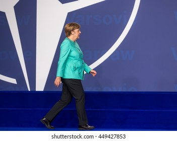 WARSAW, POLAND - Jul 8, 2016: NATO summit.  Chancellor of the Federal Republic of Germany Angela Merkel at the NATO summit in Warsaw