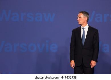 WARSAW, POLAND - Jul 8, 2016: NATO summit. NATO Secretary General Jens Stoltenberg at NATO summit