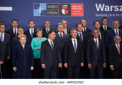WARSAW, POLAND - Jul 8, 2016: NATO summit. Group photo of participants of NATO summit in Warsaw