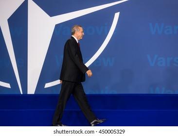 WARSAW, POLAND - Jul 9, 2016: NATO summit. Turkish President Recep Tayyip Erdogan at the North Atlantic Treaty Organization summit in Poland