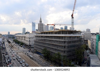 WARSAW, POLAND - JULY 09, 2017: City panorama - Palace of Culture and Science