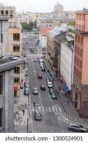 WARSAW, POLAND - JULY 09, 2017: City panorama - view Bracka street