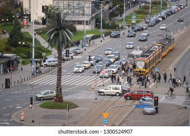 WARSAW, POLAND - JULY 09, 2017: City panorama - de Gaulle roundabout