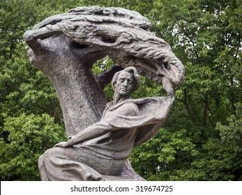 WARSAW, POLAND - JULY 14, 2015: Fryderyk Chopin (Frederic Chopin) monument in Lazienki Park (Royal Baths Park) in Warsaw, Poland.