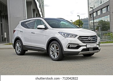 Warsaw, Poland - July, 14, 2017: Hyundai Santa Fe car parking in the exhibition point.