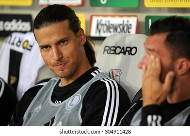 WARSAW, POLAND - JULY 16, 2015: Europa League Qualifications 2-nd round Legia Warsaw Poland - FC Botosani Romania  o/p: Aleksandar Prijovic