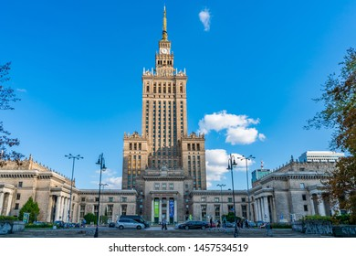 WARSAW, POLAND - JULY 18, 2019: Palace of Culture and Science in capital of Poland was constructed in 1955 and since 2007 it has been enlisted in the Registry of Objects of Cultural Heritage
