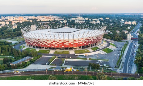 WARSAW, POLAND - JULY 18: National Stadium, on July 18, 2013. Designed for UEFA EURO 2012, with its retractable roof and advanced infrastructure remains one of the most modern sport facility in Europe