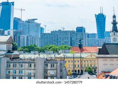 WARSAW, POLAND - JULY 19, 2019: Warsaw's widely varied architecture reflects the city's turbulent history from Gothic churches and neoclassical palaces to Soviet-era blocks and modern skyscrapers