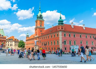 WARSAW, POLAND - JULY 19, 2019: The Royal Castle in the Castle Square at the entrance to the Warsaw Old Town is one of capital's most recognizable landmarks. It was completely rebuilt after WWII.