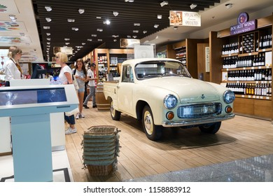 WARSAW, POLAND - July, 20, 2018: in Duty Free Shop in Warsaw Chopin Airport.