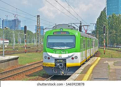 WARSAW, POLAND - JULY 20, 2019 - Koleje Mazowieckie train at Warszawa Zachodnia railway station