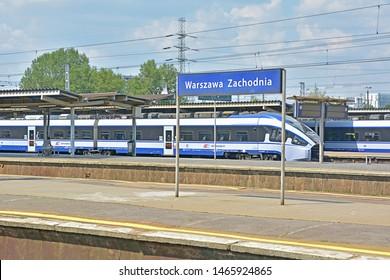 WARSAW, POLAND - JULY 20, 2019 - Pesa Dart long-distance trains, operated by PKP Intercity, standing at Warszawa Zachodnia railway station