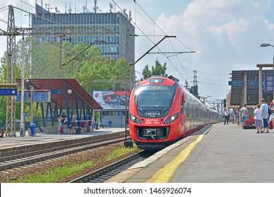 WARSAW, POLAND - JULY 20, 2019 - 35WE city train, produced by Newag and operated by SKM Warszawa, at Warszawa Zachodnia railway station