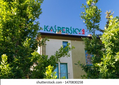Warsaw, Poland - July, 2019: Kaspersky Lab logotype on the top of office building