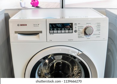 Warsaw, Poland, July 21, 2018 inside Bosch showroom, free-standing Bosch WLK24241PL Serie6 SlimLine washing machine on display Eco VarioPerfect EcoSilence Drive AquaStop A BSH Home Appliances