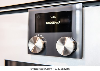 Warsaw, Poland, July 21, 2018 inside Gaggenau showroom, TFT touch display Gaggenau Panel-free appliance with surface control module, Combi-microwave, fully automatic espresso machine, combi-steam oven