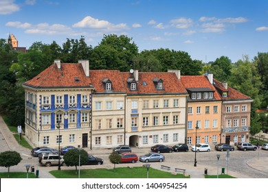 WARSAW, POLAND - JULY 21 2018: Red tile roofs of the big historical house in the old city, Warsaw, Poland
