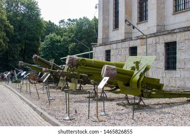 Warsaw Poland July 21st 2019: The weapon in the open square of Polish Army Museum.  There are different howitzers, like 122m field howitzer and 280mm siege mortar, etc