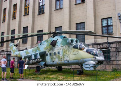 Warsaw Poland July 21st 2019: The weapon in the open square of Polish Army Museum. The Mil Mi-24D is a large helicopter gunship, attack helicopter and low-capacity troop transport