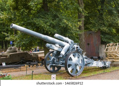Warsaw Poland July 21st 2019: The weapon in the open square of Polish Army Museum. The 15 cm schwere Feldhaubitze 18 or sFH 18 was the basic German division-level heavy howitzer during World war 2