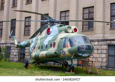 Warsaw Poland July 21st 2019: The weapon in the open square of Polish Army Museum. The Mil Mi-8T is a medium twin-turbine helicopter, originally designed by the Soviet Union.