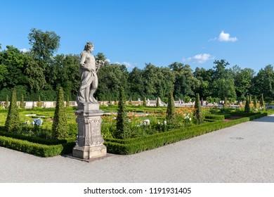 Warsaw, Poland - July 22, 2018: Facade of Wilanow palace museum, royal residence of Polish Kings in baroque style. ThePalace's museum was established in 1805.