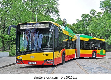 WARSAW, POLAND - JULY 22, 2019 - Solaris Urbino 18 electric bus, operated by MZA Warszawa. Solaris (CAF Group) and MZA signed a contract for 130 such buses