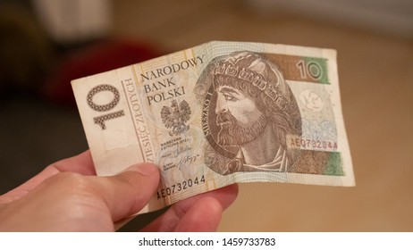 Warsaw / Poland - July 24th 2019: 10 Zloty(PLN) Polish currency