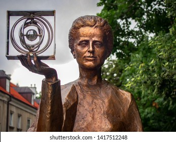 WARSAW, POLAND - JULY 25, 2017 Bronze monument to Marie Sklodowska-Curie close-up