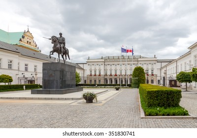 Warsaw, Poland - July 26, 2015: View of the facade of the Presidential Palace in Warsaw. Poland is a full member of the European Union.