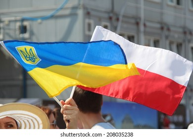WARSAW, POLAND - July 27: The pro-Ukrainian protest against policy of the president of Russia Vladimir Putin, on July 27, 2014 in Warsaw, Poland.
