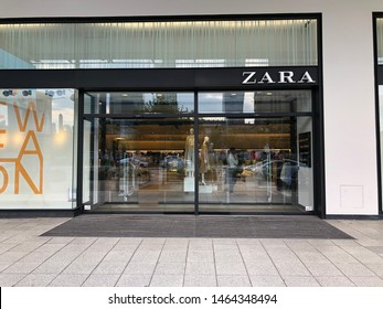 Warsaw / Poland - July 28, 2019 : Zara clothing store entrance in city center
