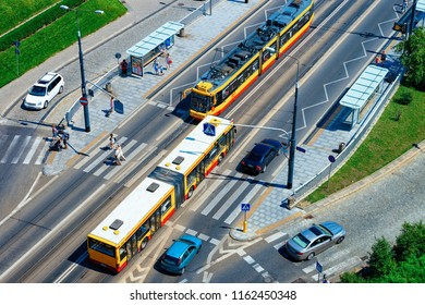 Warsaw, Poland - July 30, 2018: Highway with trams and cars in the center of Warsaw in Poland