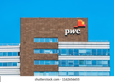 Warsaw, Poland - July 30, 2018: Modern building architecture with PWC office in Warsaw in Poland.