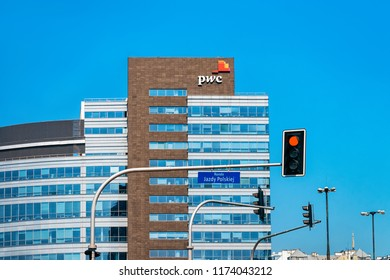 Warsaw, Poland - July 30, 2018: Modern building architecture with PWC office in Warsaw, in Poland.