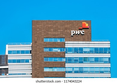 Warsaw, Poland - July 30, 2018: Modern building architecture with PWC office in Warsaw, Poland.