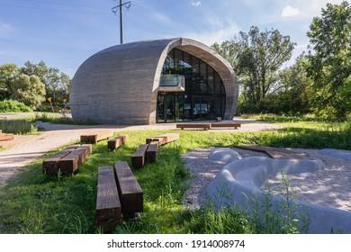 Warsaw, Poland - July 30, 2020: Modern educational pavilion called Kamien, english - Stone in Warsaw city